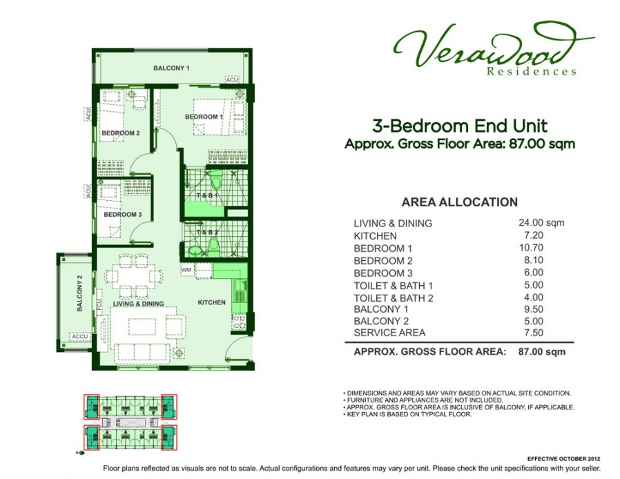Verawood Residences – 3 Bedrooms, Semi-furnished building view