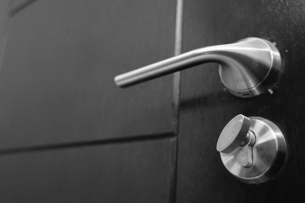 silver doorknob