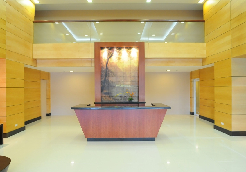 lobby with a reception counter