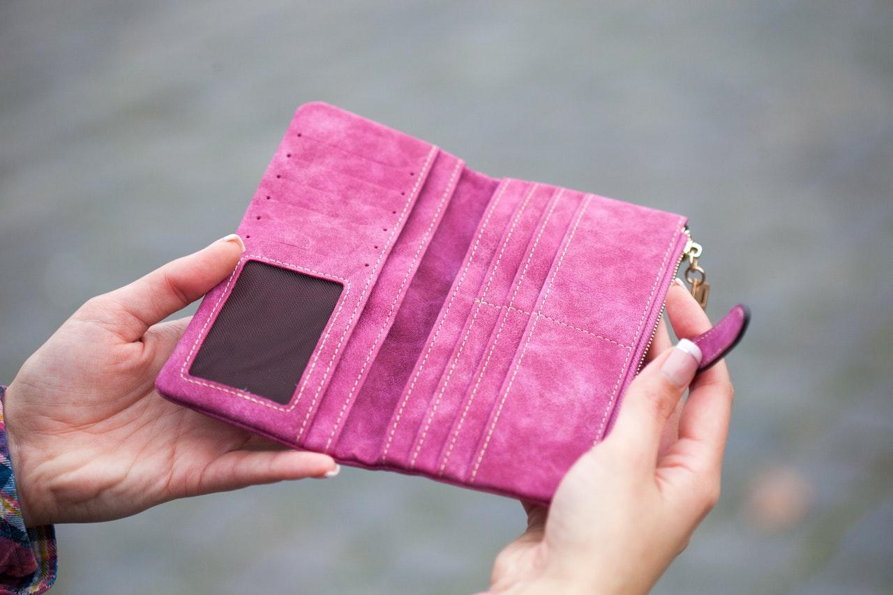 empty pink wallet