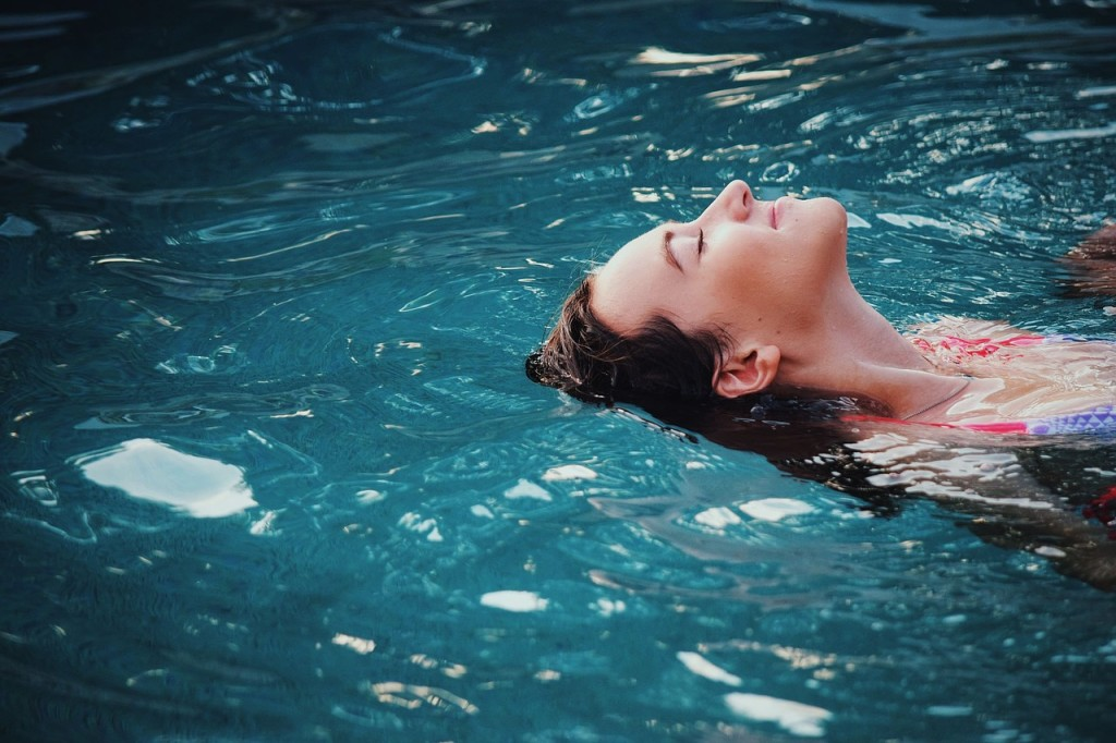 girl swimming floating