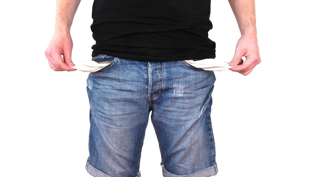 man pocket empty