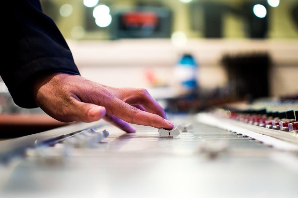 mixing audio desk