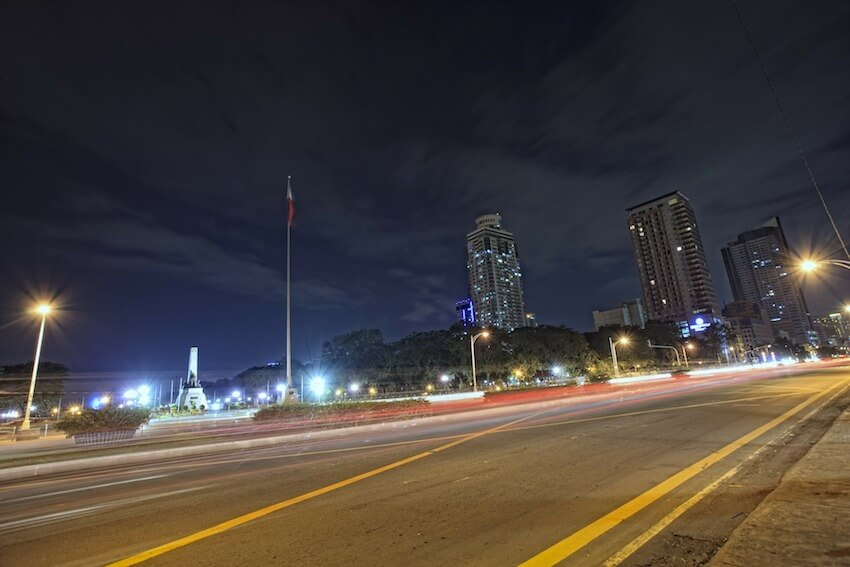 night in the Street of Metro Manila Philippines
