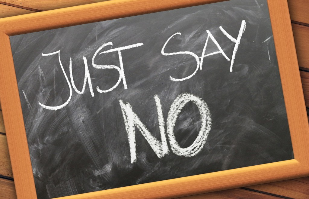 saying no chalk board